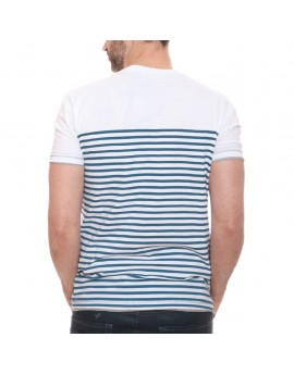 Tshirt Homme Geographical Norway Jescafe Blanc et Bleu