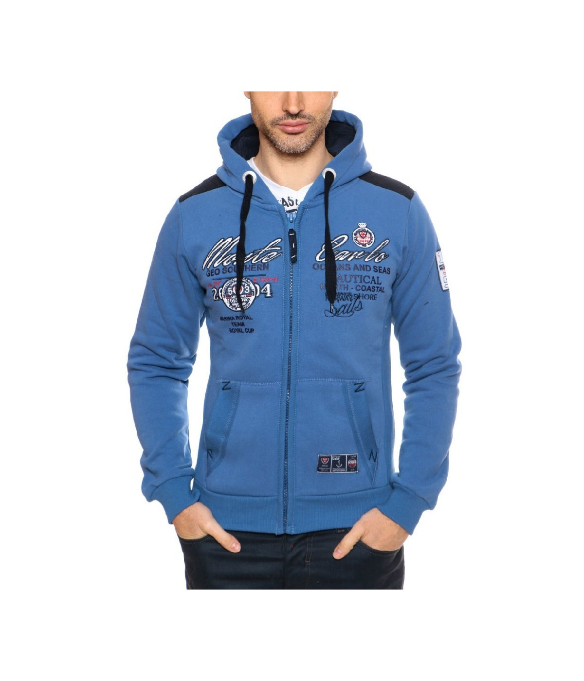 Sweat à capuche Homme Geographical Norway Goda Bleu