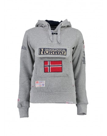 Sweat àcapuche Femme Geographical Norway Gymclass Gris Clair