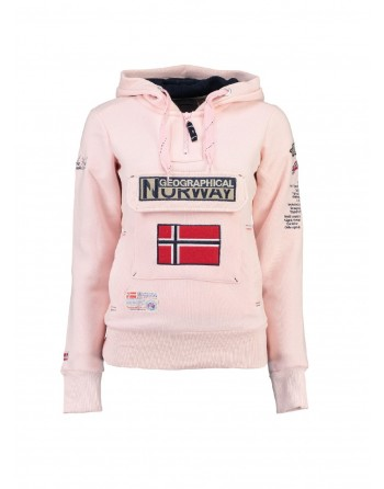 Sweat àcapuche Femme Geographical Norway Gymclass Rose Clair
