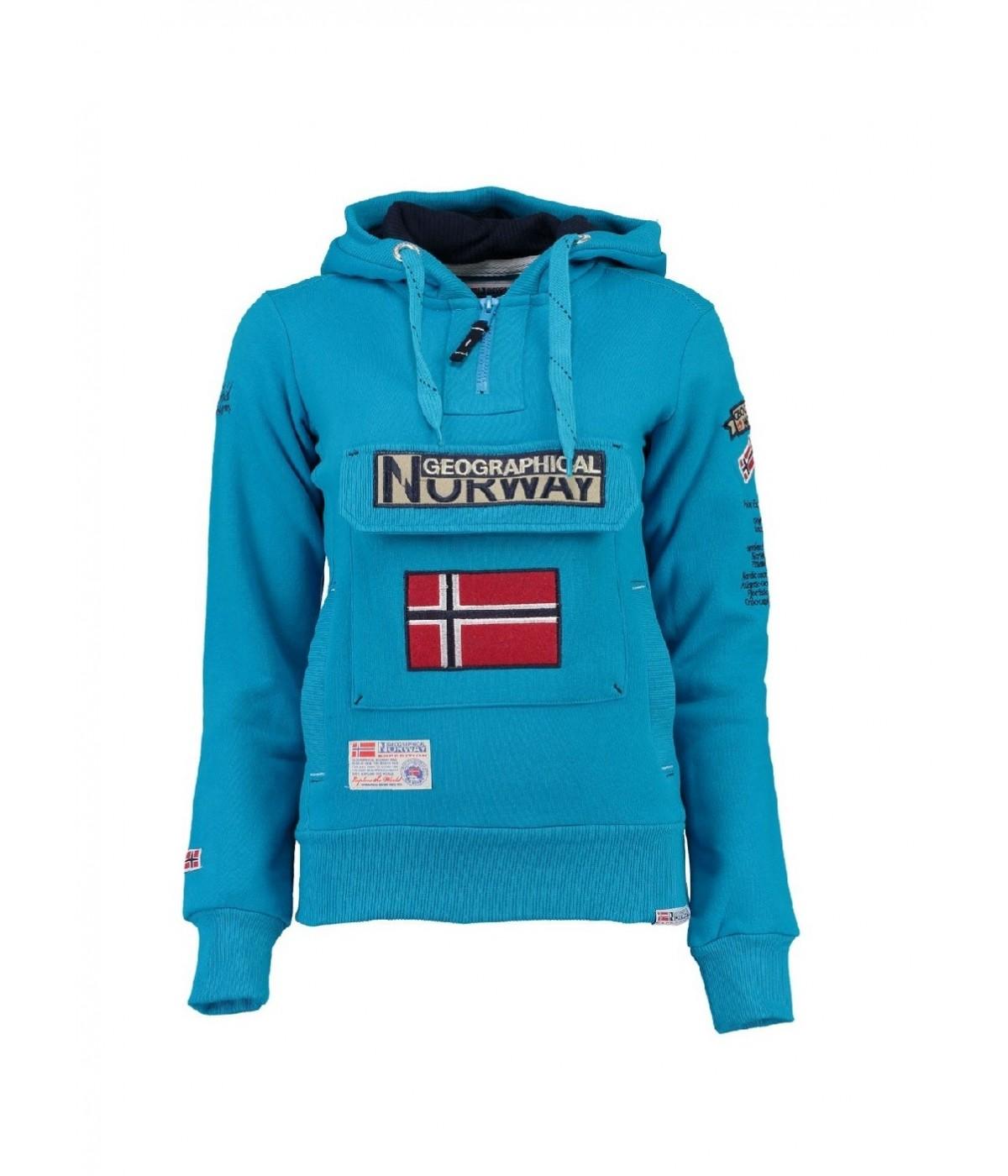 Sweat à capuche Femme Geographical Norway Gymclass Bleu Ciel