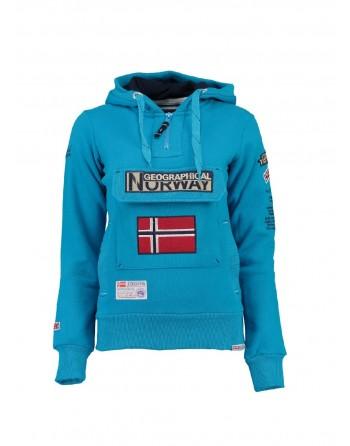 Sweat àcapuche Femme Geographical Norway Gymclass Bleu Ciel