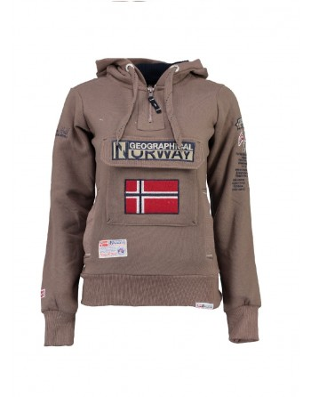 Sweat àcapuche Femme Geographical Norway Gymclass Taupe