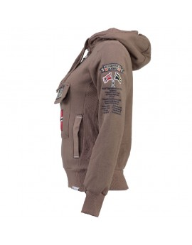 Sweat à capuche Femme Geographical Norway Gymclass Taupe