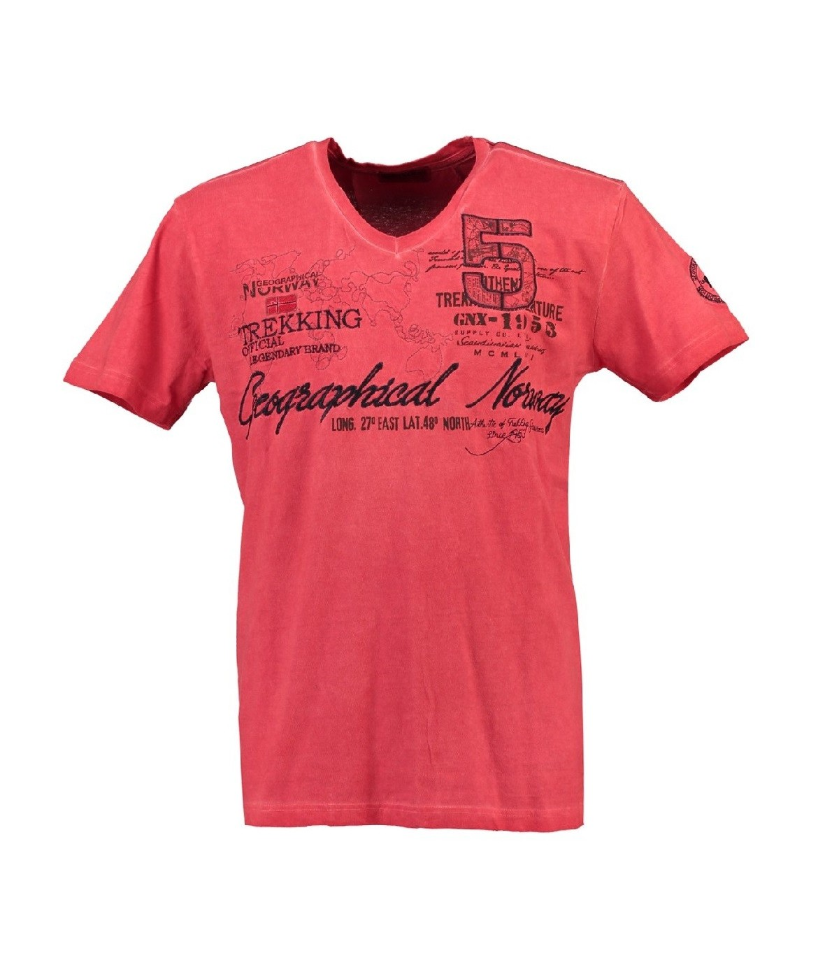 T-shirt Homme Geographical Norway Japolitain Rouge