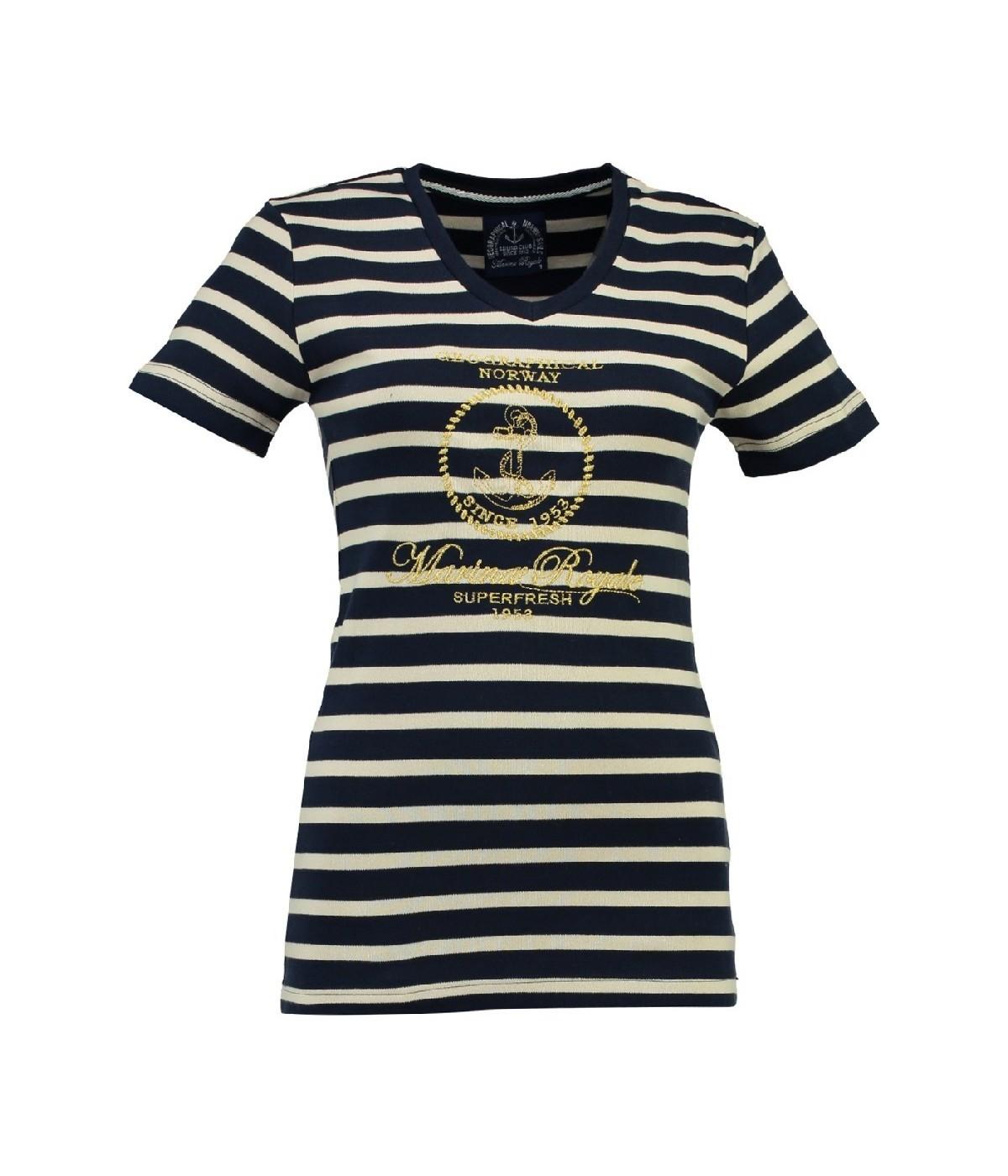 T-shirt Femme Geographical Norway Jaffar Marine