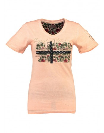 T-shirt Femme Geographical Norway Jbeauté Corail