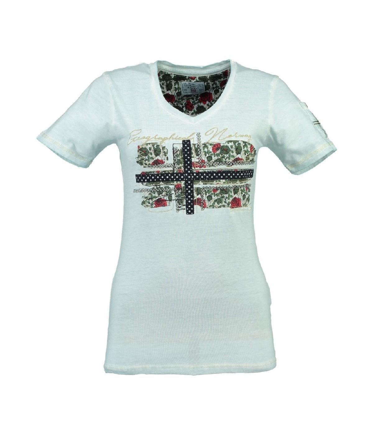 T-shirt Femme Geographical Norway Jbeautà© Bleu