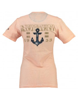 T-shirt Femme Geographical Norway Judefruit Corail