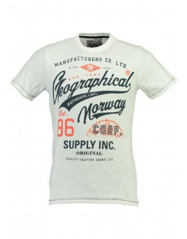 Tshirt Homme Geographical Norway Jercy Blanc