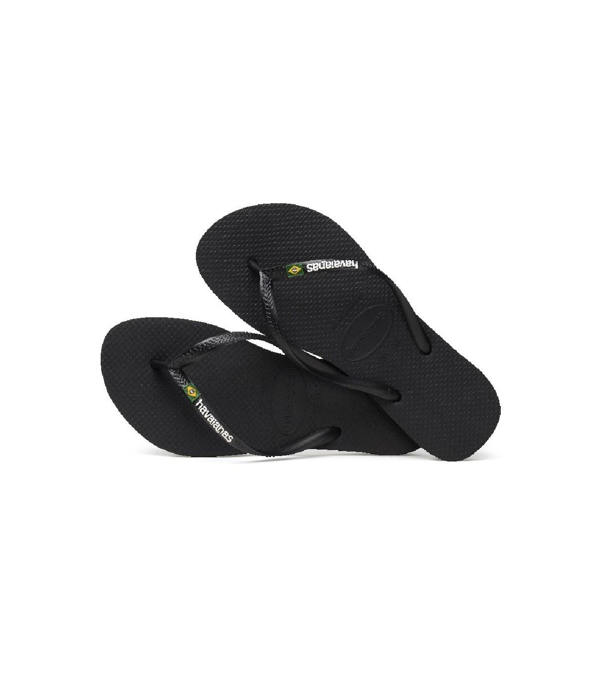remise spéciale plus de photos sur des pieds à Tong Femme Havaianas Slim Brasil Logo Noir | SHOWROOMVIP : Tongs Femme