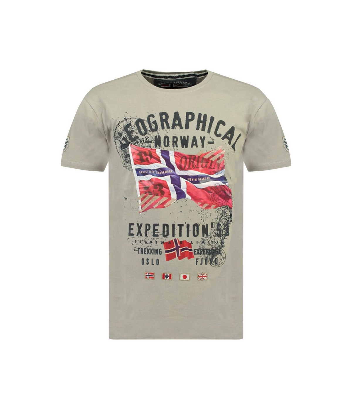 Tshirt Homme Geographical Norway Jitchen Gris Clair