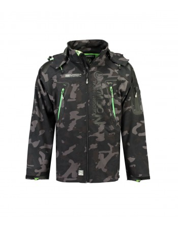 Softshell Homme Geographical Norway Techno Camo Noir et Vert