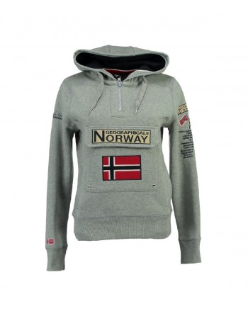 Sweat Fille Geographical Norway Gymclass New A Gris Clair