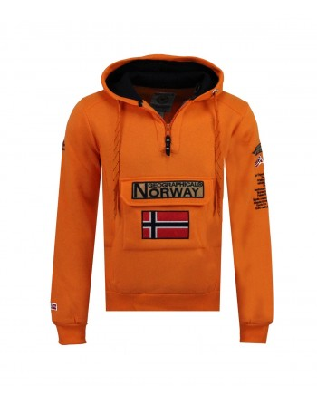 Sweat Homme Geographical Norway Gymclass Color Fluo Orange