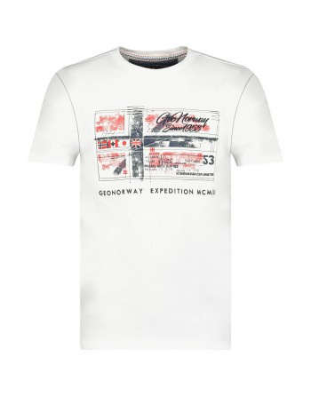 Tshirt Homme Geographical Norway Jiname 415EO Blanc