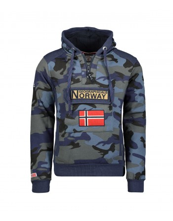 Sweat Homme Geographical Norway Gymclass Camo New Bleu