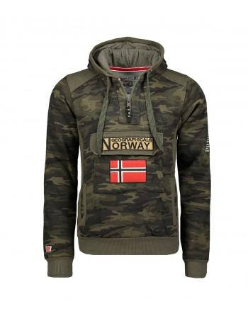 Sweat Homme Geographical Norway Gymclass Camo New Kaki