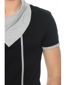 Tshirt Homme Col Châle Motif Simili Cuir Noir