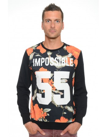 Sweat Homme Col Rond Celebry Tees Impossible Noir 005
