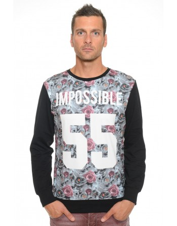 Sweat Homme Col Rond Celebry Tees Impossible Noir 010