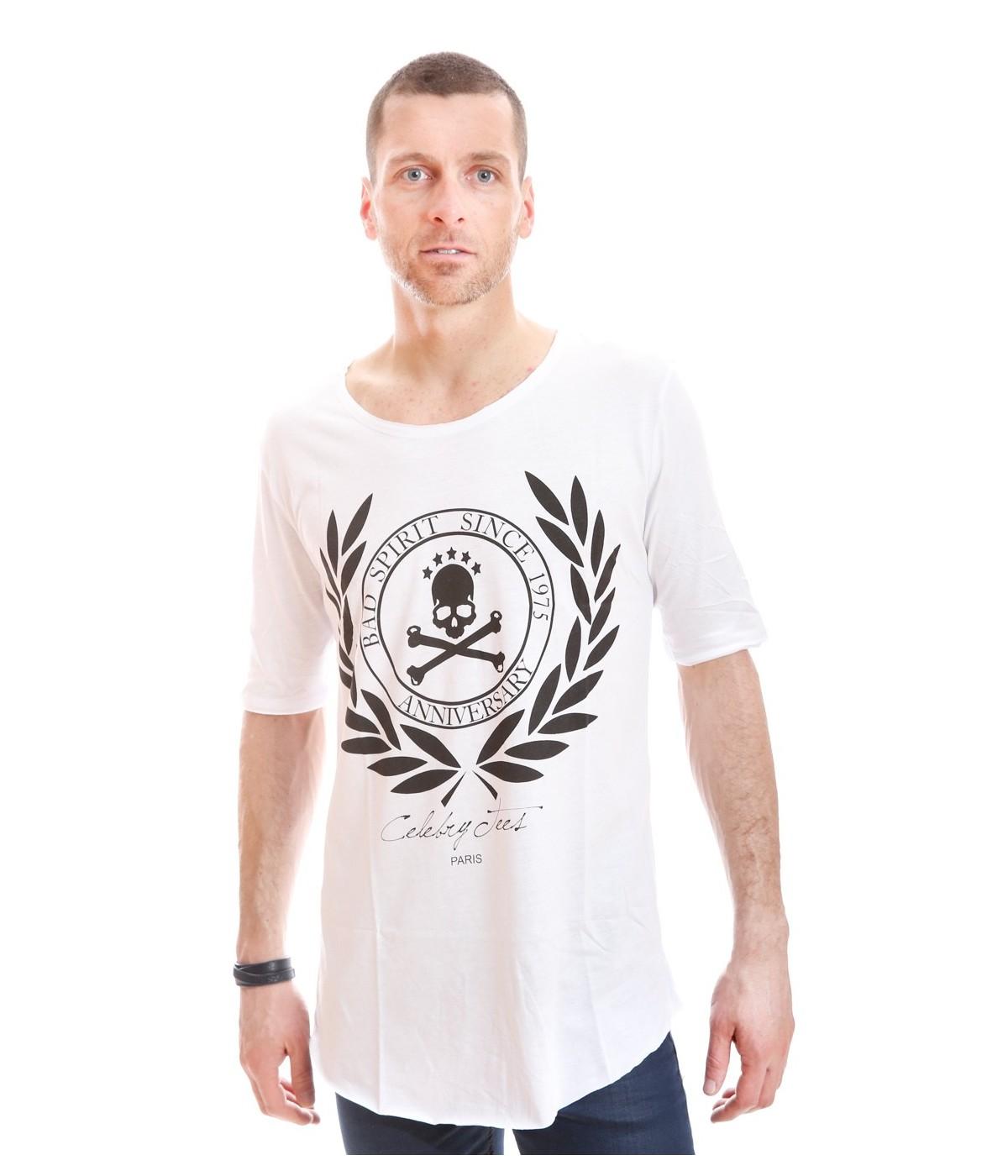 Tshirt Celebry Tees Oversize Spirit Blanc