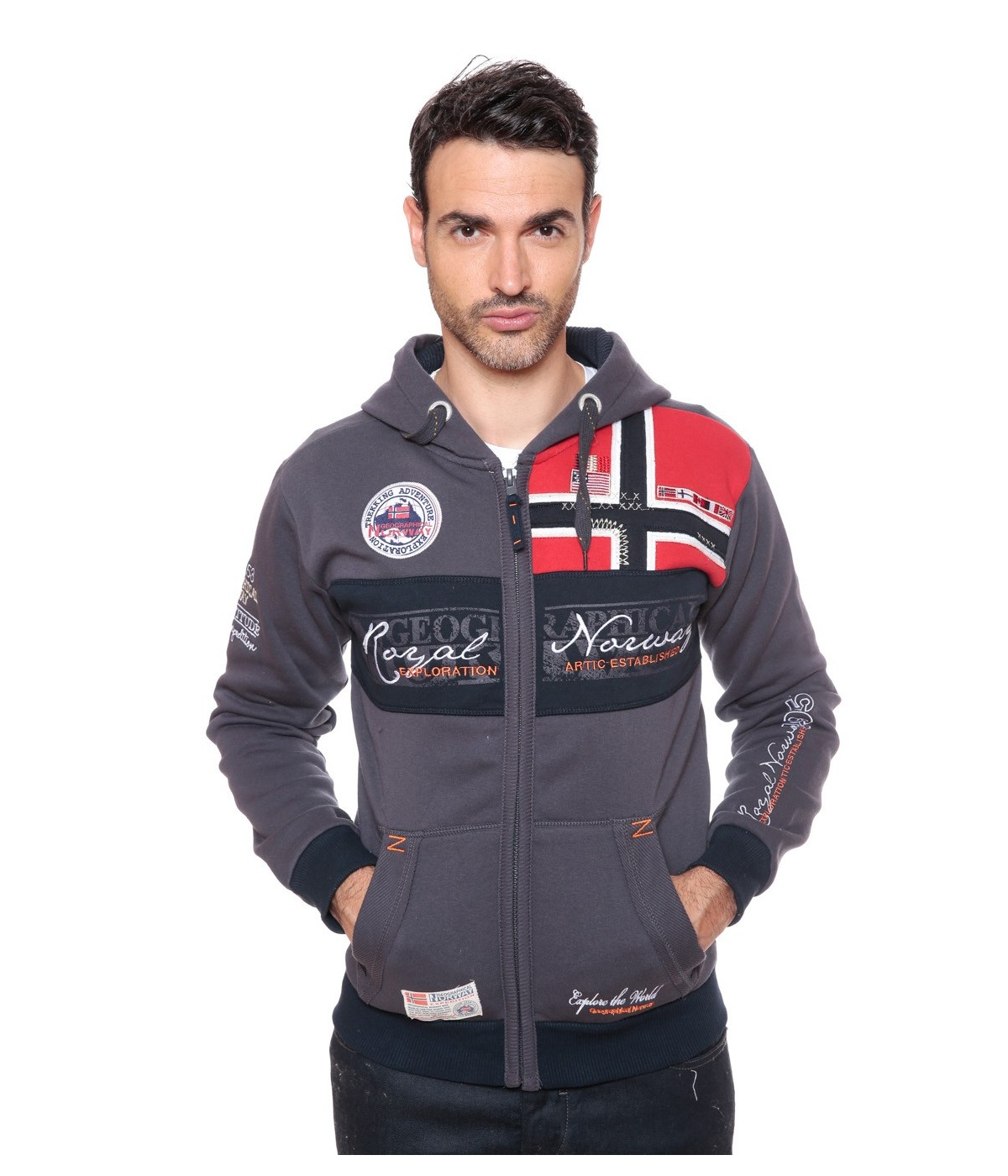 Sweat Homme Geographical Norway Flyer Gris